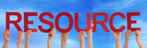 Hands Holding Red Straight Word Resource Blue Sky Royalty Free Stock Image