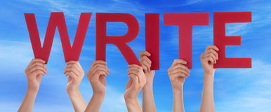 Hands Holding Red Straight Word Write Blue Sky Stock Image