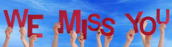 Hands Holding Red Word We Miss You Blue Sky Royalty Free Stock Photo