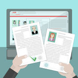 Hands holding resume. Find resume and hiring. Finding staff on internet. Choose candidate and analyze cv. Professional company resources Royalty Free Stock Images