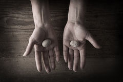 Hands holding rocks Stock Image