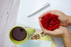 Hands holding rose flower surrounded with coffee Stock Photos