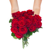 Hands holding roses Royalty Free Stock Photo
