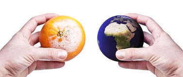Hands holding a rotten orange and the world royalty free stock image