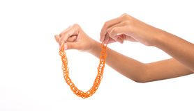 Hands Holding Rubber Band III Stock Images