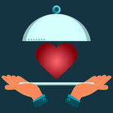 Hands holding a serving plate with a red heart. Investment in health. Love, Valentine's day vector illustration