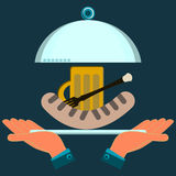 Hands holding a serving plate with the sausage grill and beer. The dish in the restaurant, beer lunch royalty free illustration