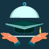 Hands holding a serving platter with a cap of a graduate. Investment in education, a student of the school vector illustration