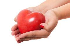 Hands holding shiny heart Royalty Free Stock Photos