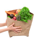 Hands holding a shopping bag full of groceries Royalty Free Stock Photography