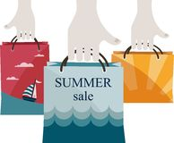 Hands holding shopping bags to promote sales. summer sale Stock Photography
