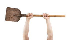 Hands holding a shovel Stock Image
