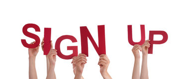 Hands Holding Sign Up Stock Photo