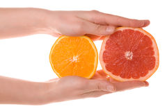 Hands holding sliced orange and grapefruit royalty free stock photography