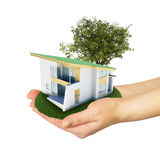 Hands holding a small house with land Royalty Free Stock Image