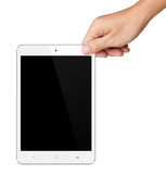 Hands are holding Small White Tablet Computer on white Royalty Free Stock Photo
