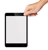 Hands are holding Small Black Tablet Computer on w Stock Photography