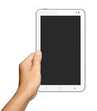 Hands are holding Small White Tablet Computer on white Royalty Free Stock Images