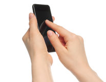 Hands holding smart phone Stock Photo