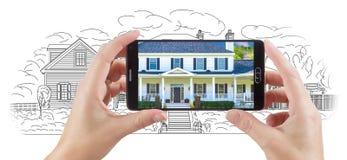 Hands Holding Smart Phone Displaying Home Photo of Drawing Behind. Hands Holding Smart Phone Displaying Custom Home Photo of Drawing Behind stock illustration