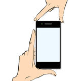 Hands holding a smart phone Stock Images