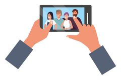 Hands holding smartphone app video call. Friends group smiling happy together bearded vector illustration graphic design vector illustration