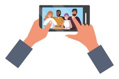 Hands holding smartphone app video call. Friends group smiling happy together bearded vector illustration graphic design royalty free illustration