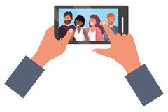 Hands holding smartphone app video call. Friends group smiling happy together bearded vector illustration graphic design stock illustration