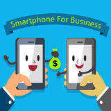 Hands holding Smartphone Character for Business Stock Image