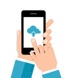 Hands holding smartphone connecting to the cloud. Flat design illustration. Flat design illustration of cloud computing. Hands holding smartphone connecting to Royalty Free Stock Photo