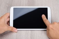 Hands holding smartphone royalty free stock photography