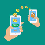Hands holding smartphones. Banking payment apps Stock Photo