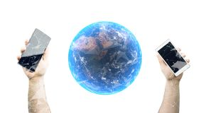 Hands Holding Smartphones With 3D Rendering Of Realistic Earth Planet Globe. On White Background With Glow And Plexus Connection Net The Elements Of This Image stock photography