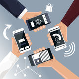 Hands holding smartphones telephones that Royalty Free Stock Photography