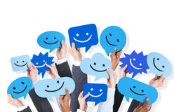 Hands Holding Smiley Face Icons Royalty Free Stock Images