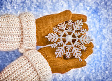Hands holding snowflake Stock Photography