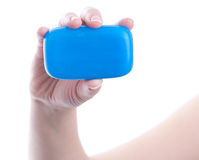 Hands holding soap Stock Photography