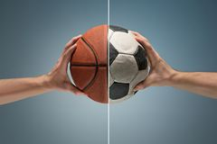 Hands holding soccer ball. Hands holding soccer and basketball balls on gray studio background. concept of confrontation, differences in taste and preference Stock Image