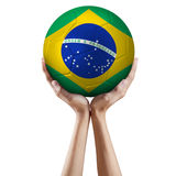 Hands holding soccer ball 3 Royalty Free Stock Photos