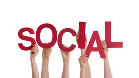 Hands Holding Social. Many Hands Holding the Red Word Social, Isolated Royalty Free Stock Photography