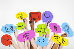 Hands Holding Social Media Icons Royalty Free Stock Photos