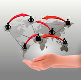 Hands holding social network. Vector Royalty Free Stock Photo