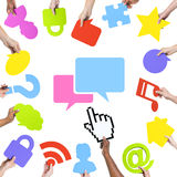 Hands Holding Social Networking Concept Symbols and Speech Bubble Royalty Free Stock Photography
