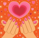 Hands holding a sparkling heart Royalty Free Stock Photos