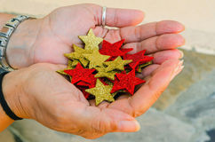 Hands holding stars Royalty Free Stock Photography