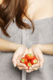 Hands holding strawberries Royalty Free Stock Images