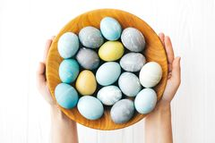 Hands holding stylish Easter eggs in wooden plate flat lay on white wooden background. Modern colorful easter eggs painted with. Pastel natural dye. Happy royalty free stock images
