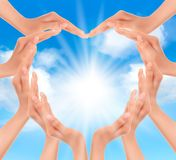 Hands holding the sun. Vector illustration Royalty Free Stock Photos