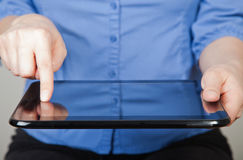 Hands holding  tablet Stock Photos