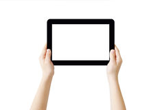 Hands holding Tablet. PC, isolated, clipping path Royalty Free Stock Image